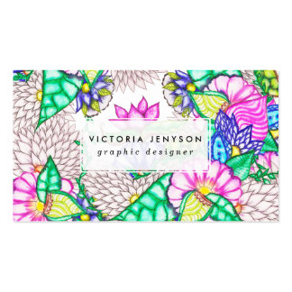 Bright modern botanical preppy floral watercolor pack of standard business cards