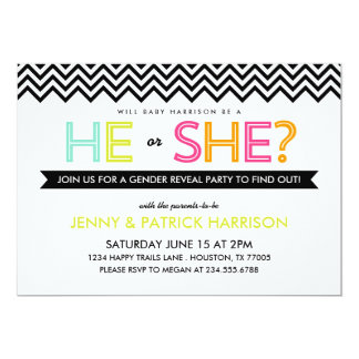 Bright Modern Chevron Baby Gender Reveal Party Card