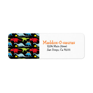 Bright Modern Dinosaur Return Address Labels