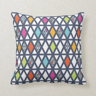 Bright Modern Graphic Pink Teal Lime Throw Pillow