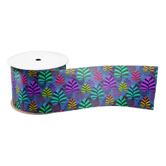 Bright Modern Leaf Pattern 437 Satin Ribbon