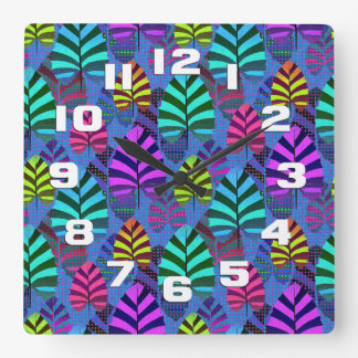 Bright Modern Leaf Pattern 437 Wallclocks