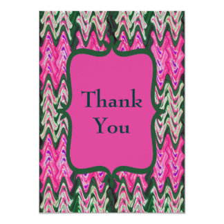 Bright Modern Pink Green Thank You 11 Cm X 16 Cm Invitation Card