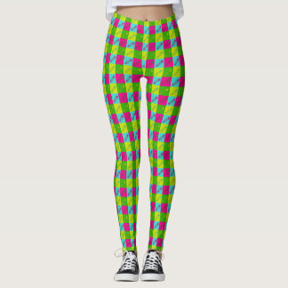 Bright modern safety pins design leggings