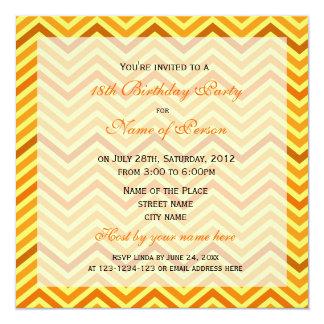 Bright, modern, trendy, sunny  chevron birthday invitations