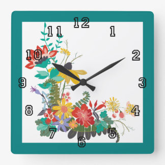 Bright Modern Vector Floral Pattern Flowers Teal Square Wall Clock