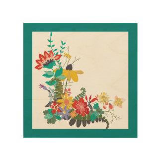 Bright Modern Vector Floral Pattern Flowers Teal Wood Print