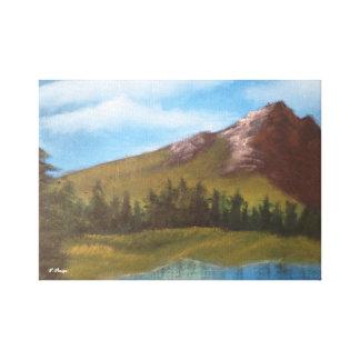 Bright Mountain Meadow Landscape Canvas Print