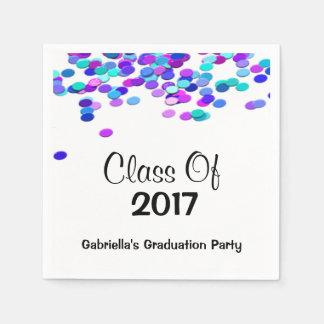 Bright Multi Colored Confetti Class Of 2017 Napkin Disposable Napkin