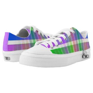 Bright Multi Colored Plaid Violet Sneaker