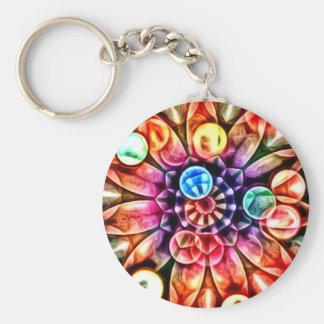Bright Multicolor Flower Kaleidoscope Basic Round Button Key Ring