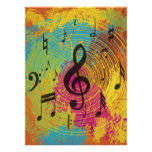 Bright Music notes on explosion of colour