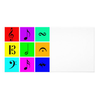 bright music symbols customized photo card