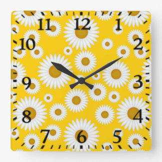 bright n cheerful yellow and white daisy clock