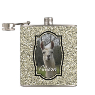 Bright N Sparkling Llama in Gold Champagne Hip Flask