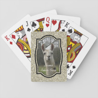 Bright N Sparkling Llama in Gold Champagne Playing Cards