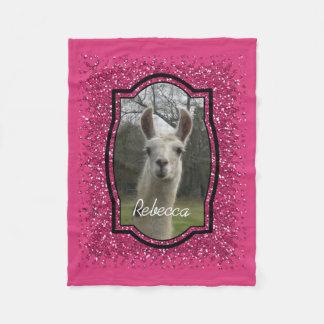 Bright N Sparkling Llama in Hot Pink Fleece Blanket