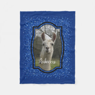 Bright N Sparkling Llama in Royal Blue Fleece Blanket