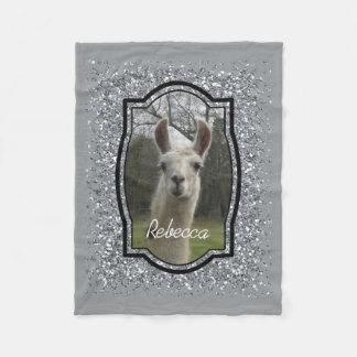 Bright N Sparkling Llama in Silver Fleece Blanket