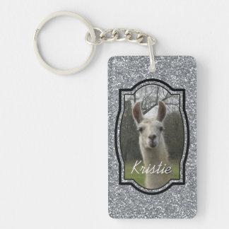 Bright N Sparkling Llama in Silver Double-Sided Rectangular Acrylic Key Ring