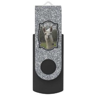 Bright N Sparkling Llama in Silver Swivel USB 2.0 Flash Drive