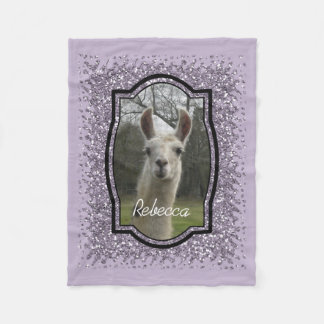 Bright N Sparkling Llama in Smokey Lavender Fleece Blanket