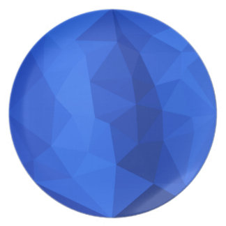 Bright Navy Blue Abstract Low Polygon Background Dinner Plate