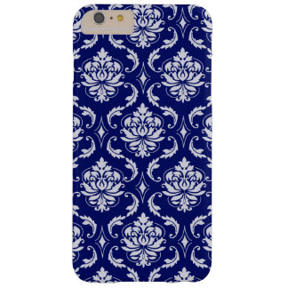 Bright Navy Blue Damask Pattern Barely There iPhone 6 Plus Case