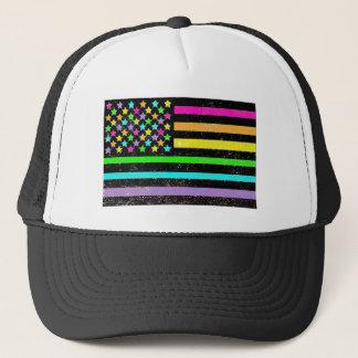 Bright neon American flag grunge Trucker Hat