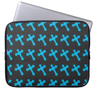 Bright Neon Blue Crosses on a Black fabric Laptop Sleeve