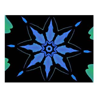 Bright Neon Blue Star Shaped Pattern Postcard