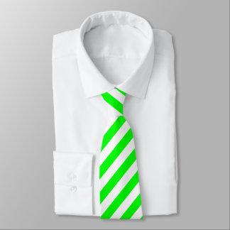 Bright Neon Chartreuse Green Stripe Necktie