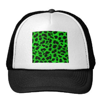BRIGHT NEON GREEN LIME BLACK ANIMAL PRINT PATTERN CAP