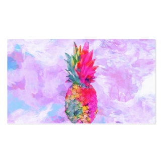 Bright Neon Hawaiian Pineapple Tropical Watercolor Pack Of Standard Business Cards