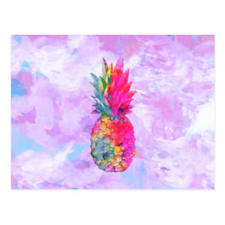 Bright Neon Hawaiian Pineapple Tropical Watercolor Postcard
