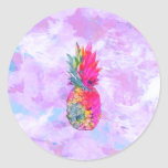 Bright Neon Hawaiian Pineapple Tropical Watercolor Round Sticker