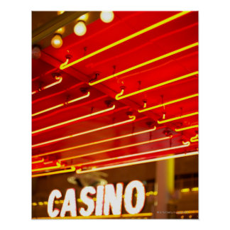 Bright neon lights in front of casino, Las Vegas Poster