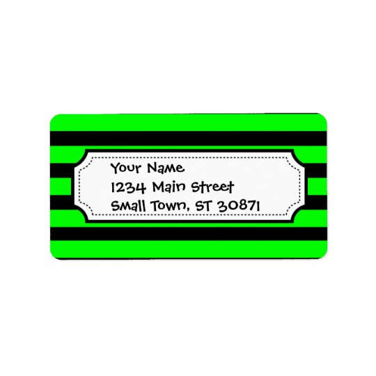 Bright Neon Lime Green and Black Stripes Address Label