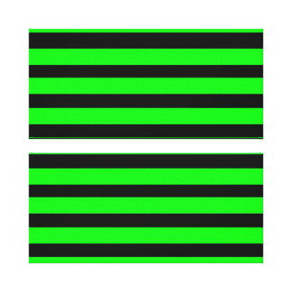 Bright Neon Lime Green and Black Stripes Canvas Print