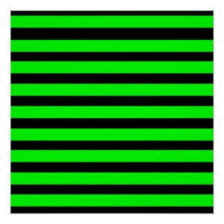 Bright Neon Lime Green and Black Stripes Poster