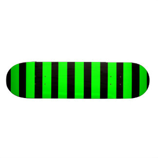 Bright Neon Lime Green and Black Stripes Skate Board Deck