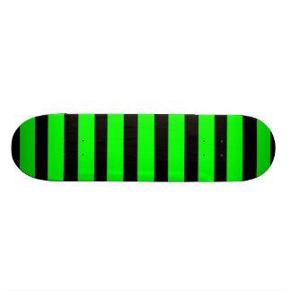 Bright Neon Lime Green and Black Stripes Custom Skateboard