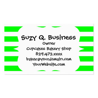 Bright Neon Lime Green and White Stripes Pattern Business Card