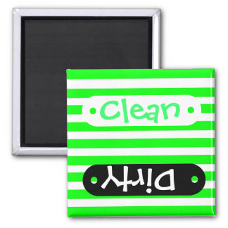 Bright Neon Lime Green and White Stripes Pattern Magnet