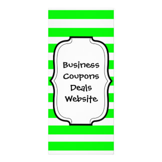 Bright Neon Lime Green and White Stripes Pattern Rack Card Design