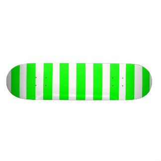 Bright Neon Lime Green and White Stripes Pattern Skate Decks