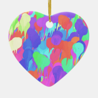 Bright Neon Pastel Paint Splash Ceramic Heart Decoration