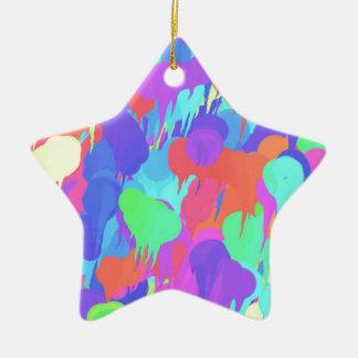 Bright Neon Pastel Paint Splash Ceramic Star Decoration