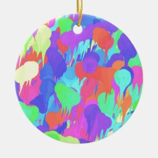 Bright Neon Pastel Paint Splash Round Ceramic Decoration