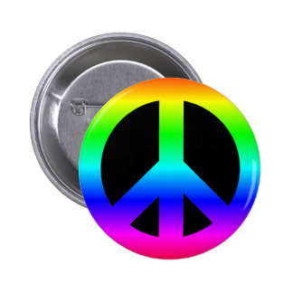 Bright Neon Rainbow CND Peace Symbol on Black 6 Cm Round Badge